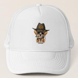 Cute Golden Retriever Puppy Zombie Hunter Trucker Hat