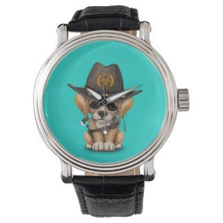 Cute Golden Retriever Puppy Zombie Hunter Wristwatch