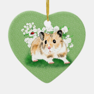 Cute golden Syrian Hamster art gifts accessories Ceramic Ornament