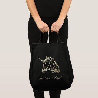 Cute Golden Unicorn Monogram A with Name Elegant Tote Bag