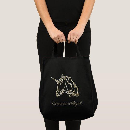 Cute Golden Unicorn Monogram A with Name Elegant Tote Bag