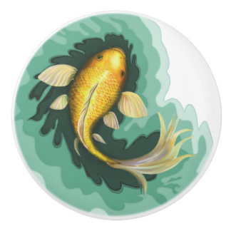 Cute Goldfish Carp Ceramic Knob