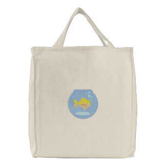 Cute Goldfish Fish Bowl Embroidered Tote Bag