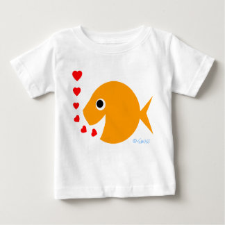 Cute Goldfish Valentine Cartoon Shirt For Baby
