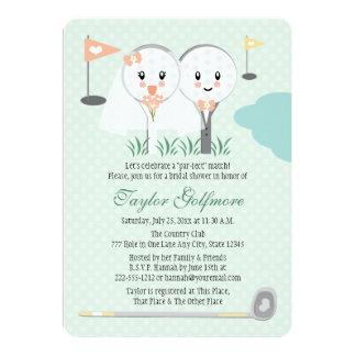 Cute Golf Ball and Tee Bride Groom Bridal Shower 13 Cm X 18 Cm Invitation Card