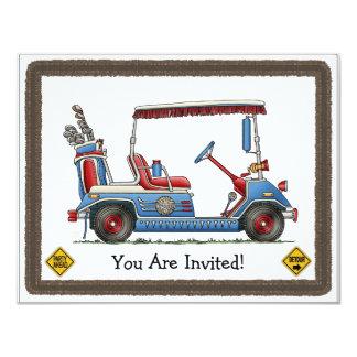 Cute Golf Cart 11 Cm X 14 Cm Invitation Card