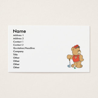 Cute Golfing Golfer Bear Business Card