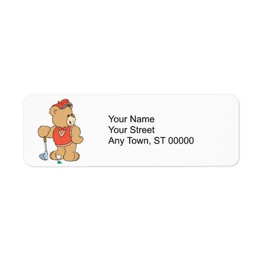 Cute Golfing Golfer Bear Return Address Label