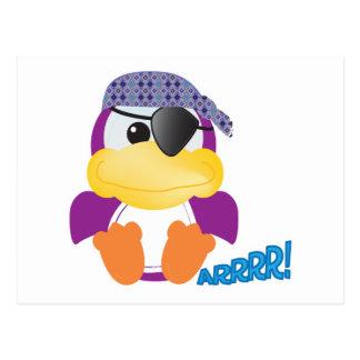 Cute Goofkins purple pirate ducky Postcard
