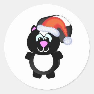 Cute Goofkins Xmas skunk santa Classic Round Sticker