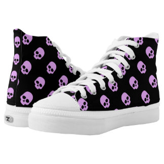 Cute Goth Pink Skulls Printed Shoes