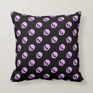 Cute Goth Pink Skulls Throw Pillow