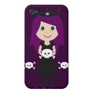 Cute Goth Princess Character & Skulls Purple iPhone 4/4S Case