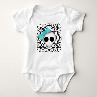 Cute goth punk skull with blue bow on black swirls baby bodysuit