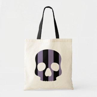 Cute goth striped skull tote bag
