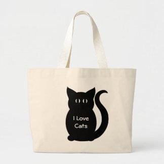 """Cute gothic black cat """"I Love Cats"""" tote Bags"""