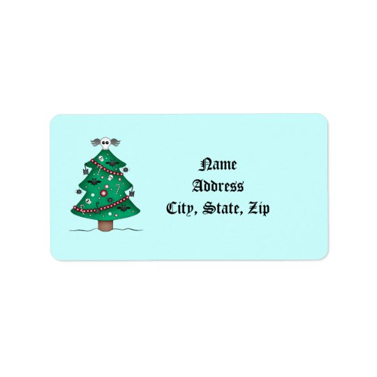 Cute Gothic Christmas tree Label