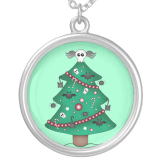 Cute gothic Christmas tree Round Pendant Necklace