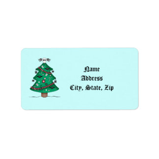 Cute gothic Christmas tree thank you Address Label