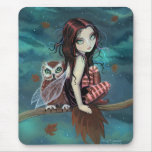 Cute Gothic Fairy and Owl Fantasy Art Mouse Pads