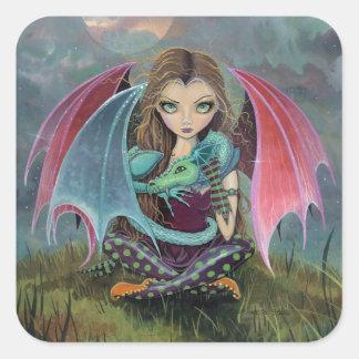 Cute Gothic Fairy Dragon Fantasy Art Stickers