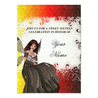 "Cute Gothic fairy sweet sixteen 4.5"" X 6.25"" Invitation Card"