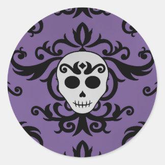 Cute gothic glam girly skull damask black purple round sticker