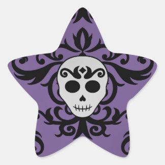 Cute gothic glam girly skull damask black purple star sticker