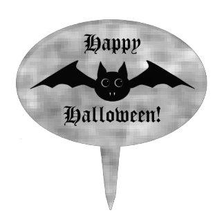 Cute gothic Halloween vampire bat with big eyes Oval Cake Pick