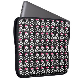 Cute Gothic Skull and Crossbones Girly Skulls Laptop Computer Sleeve