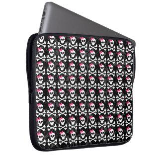 Cute Gothic Skull and Crossbones Girly Skulls Laptop Sleeve