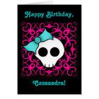 Cute gothic skull birthday for tween or teen girl card