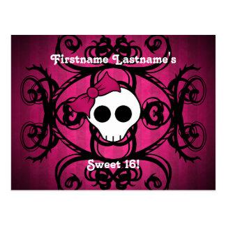 Cute gothic skull fuschia and black sweet 16 postcard