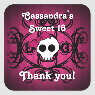 Cute gothic skull fuschia and black sweet 16 square sticker