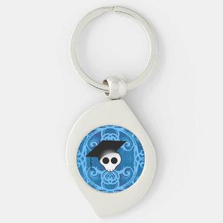 Cute gothic skull graduation Silver-Colored swirl key ring