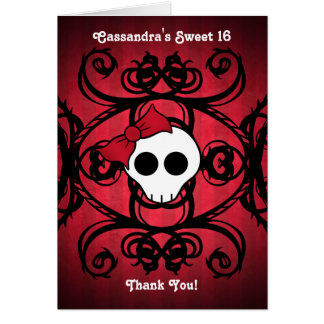 Cute gothic skull on red and black sweet 16 card