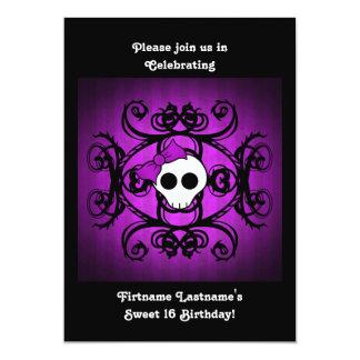 Cute gothic skull purple and black 5x7 sweet 16 13 cm x 18 cm invitation card