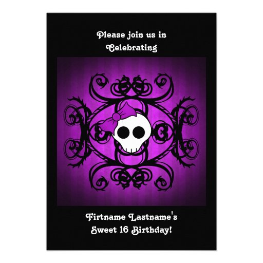 Cute gothic skull purple and black 5x7 sweet 16 personalized invitation