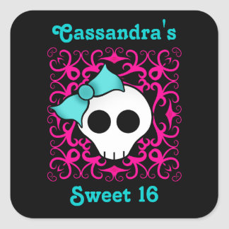 Cute gothic skull sweet 16 square sticker