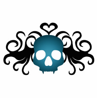 Cute gothic vampire skull in blue photo cut outs