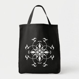 Cute gothic white flower grocery tote bag