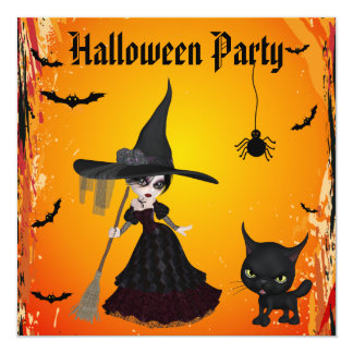 Cute Gothic Witch & Cat Halloween Party 13 Cm X 13 Cm Square Invitation Card