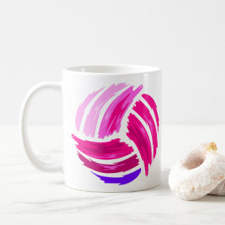 Cute Gradient Pink Color of Paint Brush Volleyball Coffee Mug
