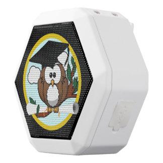 Cute Graduation Owl With Cap & Diploma on Black White Boombot Rex Bluetooth Speaker