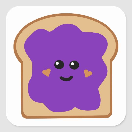 Cute Grape Jelly Bread Square Sticker