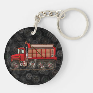 Cute Gravel Dump Truck Double-Sided Round Acrylic Key Ring