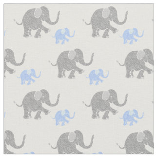 Cute Gray and Pastel Blue Baby Elephants Pattern Fabric