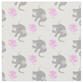 Cute Gray and Pink Baby Elephants Pattern Fabric