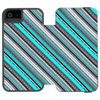 Cute gray aqua aztec patterns incipio watson™ iPhone 5 wallet case
