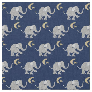 Cute Gray Baby Elephant with Moon and Star on Blue Fabric